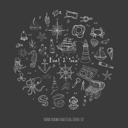 moray: doodle Boat and Sea set illustration boat icons sea life concept elements Ship symbols collection Marine life Nautical design Underwater life Sea animals Sea map Spyglass Magnifier Illustration
