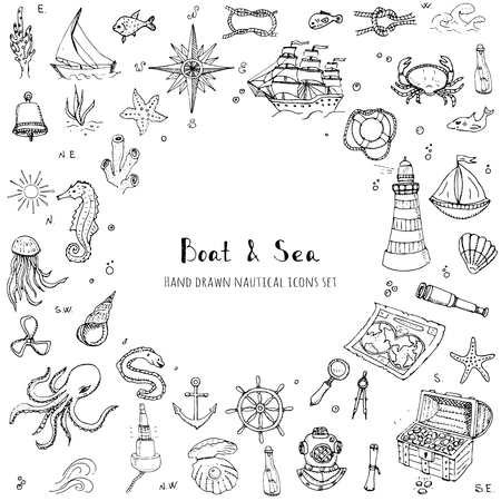 moray: doodle Boat and Sea set illustration boat icons sea life concept elements Ship symbols collection Marine life Nautical design Underwater life Sea animals Sea map Spyglass Magnifier Illustration