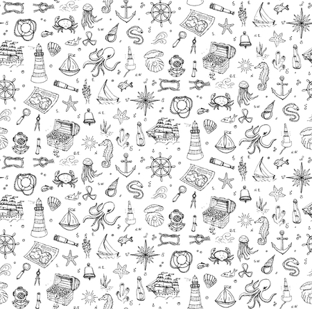 moray: Seamless background doodle Boat and Sea icons set illustration Sea life elements Ship symbols collection Marine life Nautical design Underwater Sea animals Sea map Spyglass Magnifier