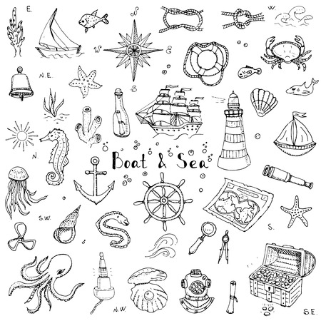doodle Boat and Sea set illustration boat icons sea life concept elements Ship symbols collection Marine life Nautical design Underwater life Sea animals Sea map Spyglass Magnifier 向量圖像