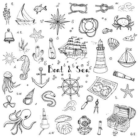 Doodle de Barcos y Mar establece la ilustración iconos barco vida marina elementos conceptuales símbolos de la nave colección La vida marina de diseño náutico de la vida subacuática de animales de mar mapa Sea Spyglass lupa Foto de archivo - 53954323