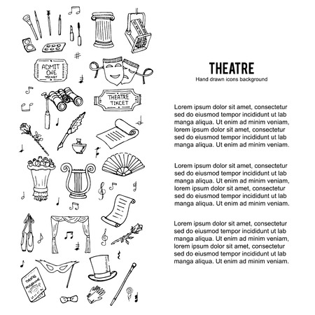 stage makeup: doodle Theatre set illustration Sketchy theater icons  Theatre acting performance elements Ticket Masks Lyra Flowers Curtain stage Musical notes Pointe shoes Make-up artist tools