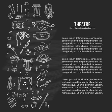 theatre masks: doodle Theatre set illustration Sketchy theater icons  Theatre acting performance elements Ticket Masks Lyra Flowers Curtain stage Musical notes Pointe shoes Make-up artist tools