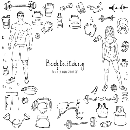 doodle Bodybuilding set illustration sport icons Body building elements Fitness symbols collection Sport equipment Fitness and gym design Strong man and fit woman Weight lifting gear Çizim