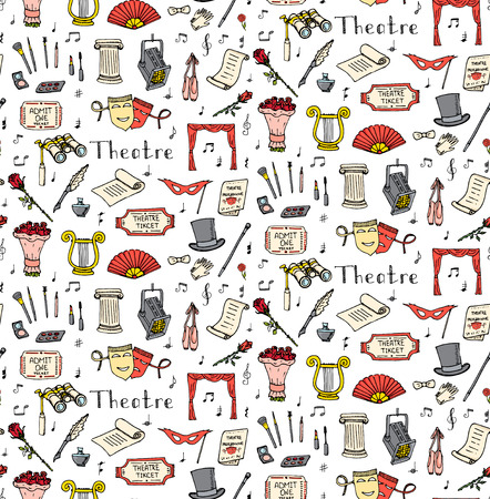 Seamless background  doodle Theatre set illustration Sketchy theater icons Acting performance elements Ticket Masks Lyra Flowers Curtain stage Musical notes Pointe shoes Make-up tools