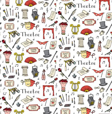Seamless doodle Theatre mis illustration théâtre Sketchy icônes éléments agissant de performance Ticket Masques Lyra Fleurs Curtain scène musicale note chaussures Pointe outils Make-up Banque d'images - 53954334