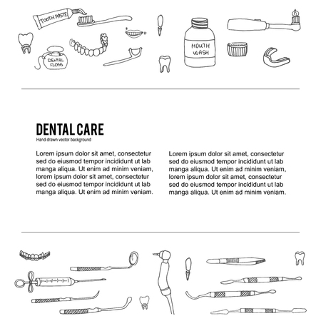 dental care icons, Dental symbols, Dental floss, teeth, mouth, tooth paste, tooth brush, dentist instruments doodle icons, sketch, brilliant smile, tooth wash Stock fotó - 53954734