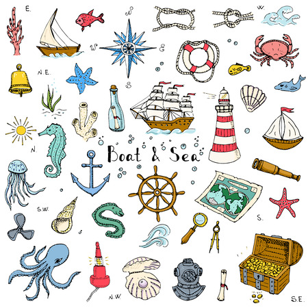 doodle Boat and Sea set illustration boat icons sea life concept elements Ship symbols collection Marine life Nautical design Underwater life Sea animals Sea map Spyglass Magnifier Illustration