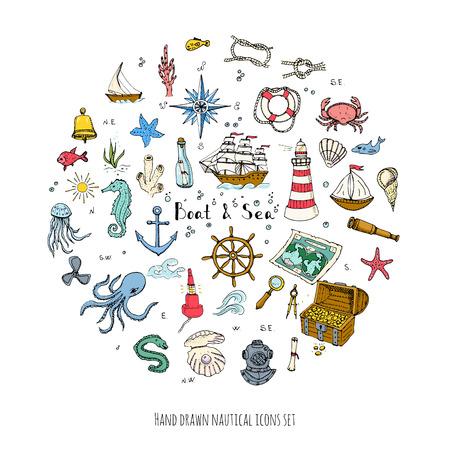 doodle de Barcos y Mar establece la ilustración iconos barco vida marina elementos conceptuales símbolos de la nave colección La vida marina de diseño náutico de la vida subacuática de animales de mar mapa Sea Spyglass lupa