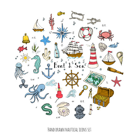 doodle Boat and Sea set illustration boat icons sea life concept elements Ship symbols collection Marine life Nautical design Underwater life Sea animals Sea map Spyglass Magnifier Vectores