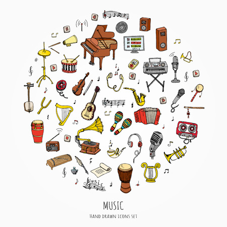 music: Hand drawn doodle Music set Vector illustration musical instrument and symbols icons collections Cartoon sound concept elements Music notes Piano Guitar Violin Trumpet Drum Gramophone Saxophone Harp Illustration