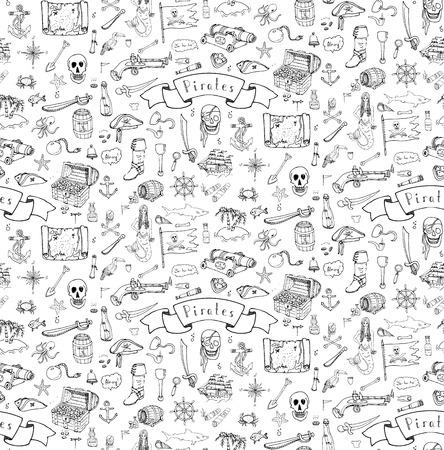 sombrero pirata: De fondo sin fisuras de la mano del doodle dibujado Ilustraciones del pirata del vector fijaron s�mbolos de recogida ilustraci�n de dibujos animados de piratas concepto de la pirater�a elementos de sombrero pirata del traje del tesoro pirata del cr�neo del pecho br�jula pirata Vectores