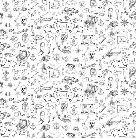 Seamless background hand drawn doodle Pirate icons set Vector illustration pirate symbols collection Cartoon piracy concept elements Pirate hat Treasure chest Skull Crossbones Compass Pirate costume Illustration