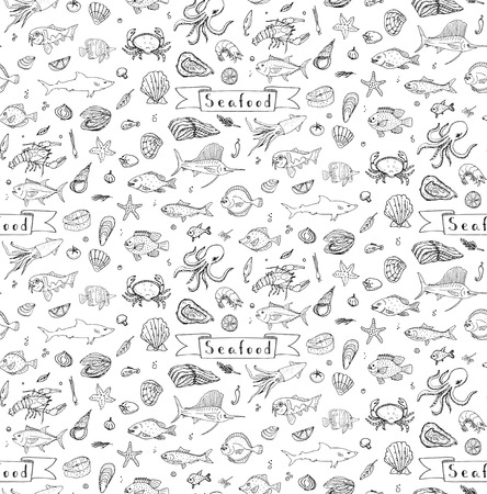 shellfish: Seamless background hand drawn doodle Seafood icons set Vector illustration seafood symbols collection Cartoon fish Crab Lobster Oyster Shrimp Shellfish Shrimp White background for your menu or design Illustration