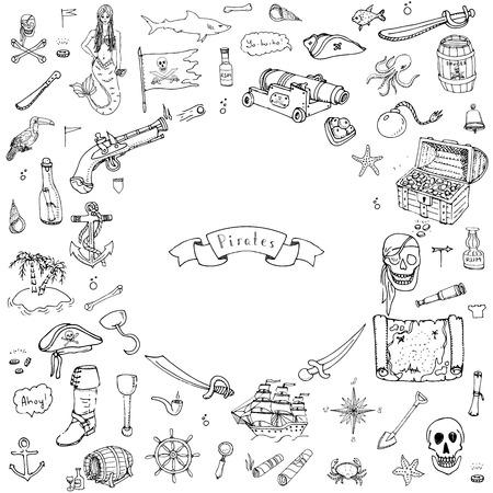 Hand drawn doodle Pirate icons set Vector illustration pirate symbols collection Cartoon piracy concept elements Pirate hat Treasure chest Black flag Skull Crossbones Compass Pirate costume elements Ilustração