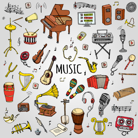 trumpet player: Hand drawn doodle Music set Vector illustration musical instrument and symbols icons collections Cartoon sound concept elements Music notes Piano Guitar Violin Trumpet Drum Gramophone Saxophone Harp Illustration