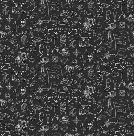 sombrero pirata: De fondo sin fisuras de la mano del doodle dibujado Ilustraciones del pirata del vector fijaron símbolos de recogida ilustración de dibujos animados de piratas concepto de la piratería elementos de sombrero pirata del traje del tesoro pirata del cráneo del pecho brújula pirata Vectores