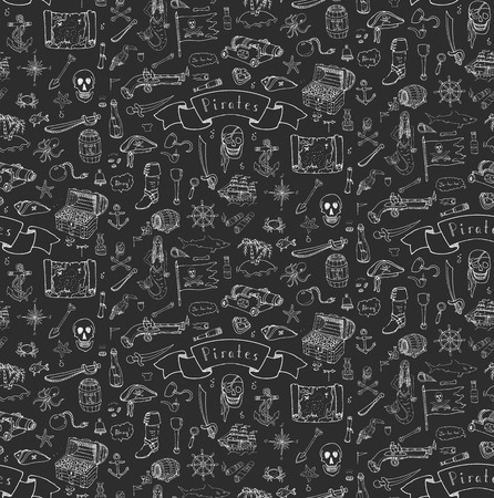 skull and crossbones: Seamless background hand drawn doodle Pirate icons set Vector illustration pirate symbols collection Cartoon piracy concept elements Pirate hat Treasure chest Skull Crossbones Compass Pirate costume Illustration