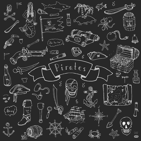 skull and crossbones: Hand drawn doodle Pirate icons set Vector illustration pirate symbols collection Cartoon piracy concept elements Pirate hat Treasure chest Black flag Skull Crossbones Compass Pirate costume elements Illustration