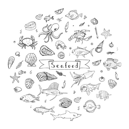 seafood platter: Hand drawn doodle Seafood icons set Vector illustration seafood symbols collection Cartoon fish Crab Seafood platter Lobster Oyster Shrimp Shellfish Shrimp on white background for your menu or design