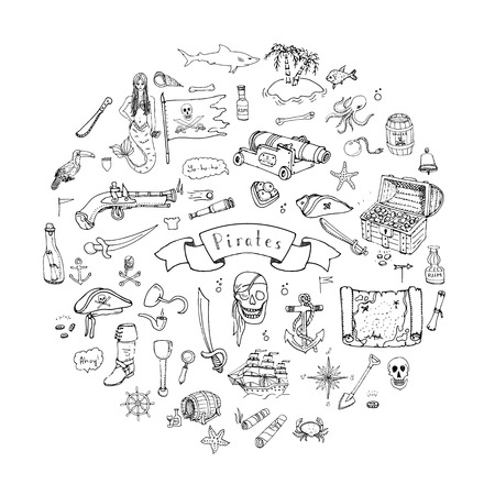 Hand drawn doodle Pirate icons set Vector illustration pirate symbols collection Cartoon piracy concept elements Pirate hat Treasure chest Black flag Skull Crossbones Compass Pirate costume elements Illustration