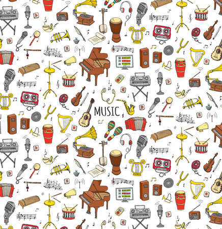 hand drawn cartoon: Seamless background hand drawn doodle Music set Vector illustration musical instrument, symbols icons collections Cartoon sound elements Piano Guitar Violin Trumpet Drum Gramophone Saxophone Harp