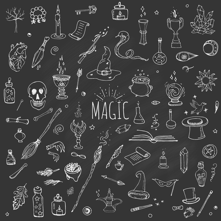 Hand drawn doodle Magic set Vector illustration wizardy, witchcraft symbols Isolated icons collections Cartoon sorcery concept elements Magic wand Love potion Fairy book Fairy tale Snake Crystal ball Imagens - 54971547
