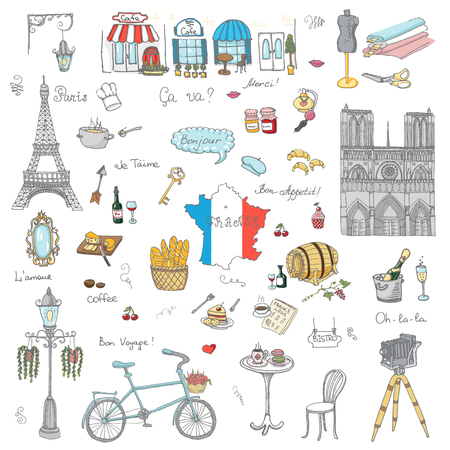 Set of hand drawn French icons, Paris sketch vector illustration, doodle elements, Isolated France national elements, Travel to France icons for cards and web pages, Paris symbols collection