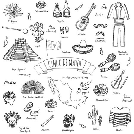 Cinco De Mayo hand drawn cartoon collection Doodle Mexico set Vector illustration Sketchy mexican food icons United Mexican States elements Maracas Sombrero Maya Pyramid Aztec Tequila Chili pepper Illustration