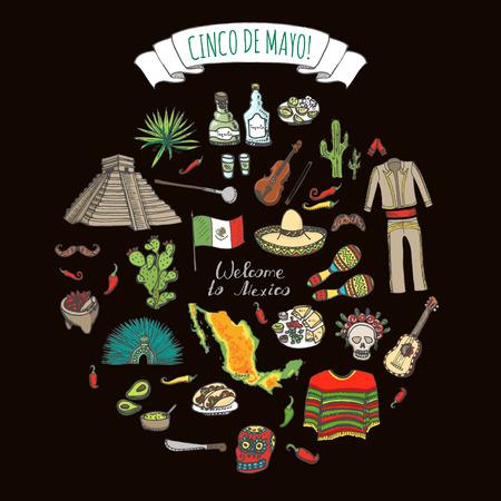 bandera de mexico: Cinco De Mayo dibujado a mano colecci�n de dibujos animados Doodle M�xico establece ilustraci�n vectorial Sketchy iconos de comida mexicana elementos de los Estados Unidos Mexicanos Maracas Sombrero Maya pir�mide azteca Tequila Pimienta