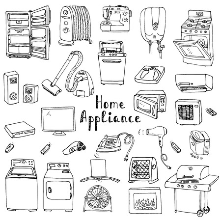 consumer electronics: Hand drawn doodle Home appliance vector illustration Cartoon icons set Various household equipment and facilities Major and small appliances Consumer electronics Kitchenware Freehand vector sketches