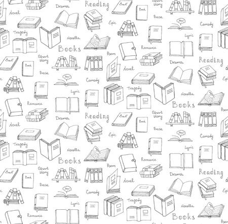book club: Seamless background hand drawn doodle Books and Reading set Vector illustration Sketchy book icons elements Symbols of reading and learning Book club Back to school Education University College symbol