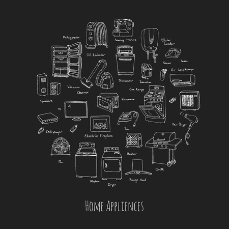 household equipment: Hand drawn doodle Home appliance vector illustration Cartoon icons set Various household equipment and facilities Major and small appliances Consumer electronics Kitchenware Freehand vector sketches