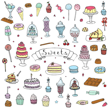 sweet food: Hand drawn doodle Sweets set Vector illustration Sketchy Sweet food icons collection