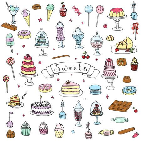 Hand getrokken doodle Sweets set Vector illustratie schetsmatige Zoet voedsel iconen collectie