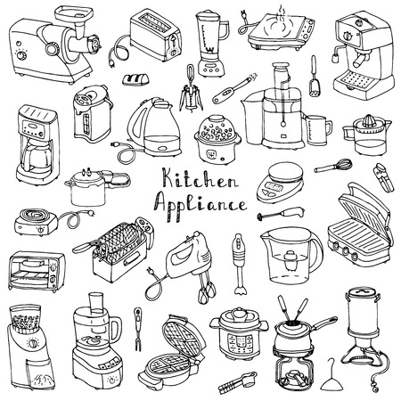 fryer: Hand drawn doodle Kitchen appliance vector illustration  Cartoon icons set Various household equipment and facilities Small kitchen appliances Consumer electronics Kitchenware Freehand vector sketch Illustration