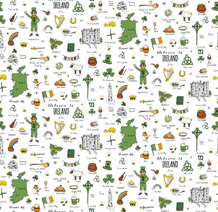 hurling: Seamless background hand drawn doodle Ireland set Vector Travel illustration Sketchy Irish traditional food icons Republic of Ireland elements Flag Map Celtic Cross Knot Castle Leprechaun Shamrock