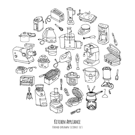 Hand drawn doodle Kitchen appliance vector illustration  Cartoon icons set Various household equipment and facilities Small kitchen appliances Consumer electronics Kitchenware Freehand vector sketch Vectores
