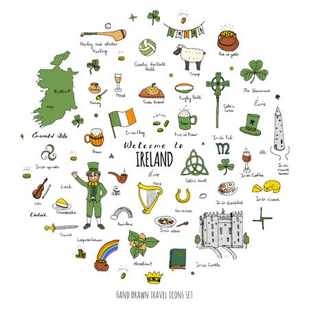 the harp: dibujado a mano doodle de Irlanda establece ilustración vectorial Sketchy iconos de los alimentos tradicionales de Irlanda República de Irlanda elementos de mapa de la bandera de la cruz céltica del nudo Castillo Leprechaun del trébol Arpa pote de oro Iconos del recorrido