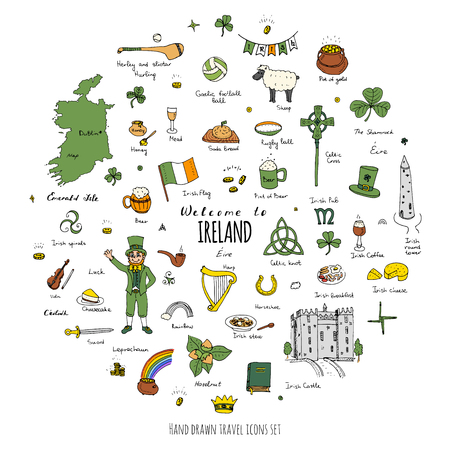 shamrock: Hand drawn doodle Ireland set Vector illustration Sketchy Irish traditional food icons Republic of Ireland elements Flag Map Celtic Cross Knot Castle Leprechaun Shamrock Harp Pot of gold Travel icons Illustration