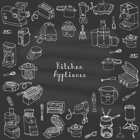 household goods: Hand drawn doodle Kitchen appliance vector illustration  Cartoon icons set Various household equipment and facilities Small kitchen appliances Consumer electronics Kitchenware Freehand vector sketch Illustration