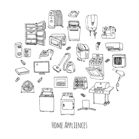 major household appliance: Hand drawn doodle Home appliance vector illustration Cartoon icons set Various household equipment and facilities Major and small appliances Consumer electronics Kitchenware Freehand vector sketches
