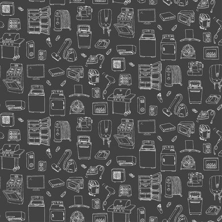 Jednolite tło ręcznie narysowanego doodle sprzętu domowego ilustracji wektorowych Cartoon ikony zestaw różnych urządzeń gospodarstwa domowego podstawowych urządzeń elektroniki użytkowej kuchenne odręcznych szkiców wektorowej Ilustracje wektorowe