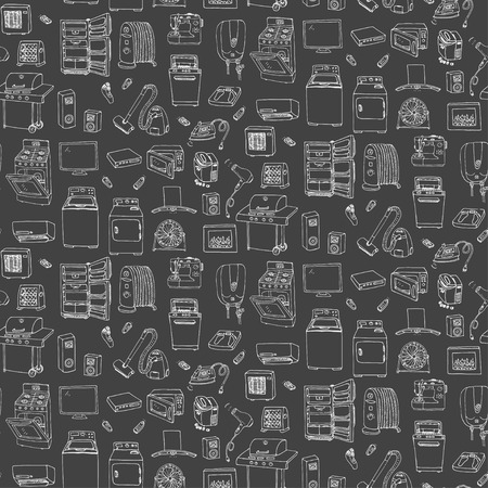 major household appliance: Seamless background hand drawn doodle Home appliance vector illustration Cartoon icons set Various household equipment Major appliances Consumer electronics Kitchenware Freehand vector sketches