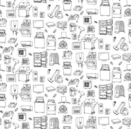 doodle del aparato electrodoméstico ilustración del vector de fondo sin fisuras mano iconos de la historieta fijados Vaus técnica doméstica en electrodomésticos grandes de electrónica de consumo de cocina a mano alzada bocetos vectoriales
