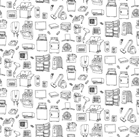 Naadloze achtergrond met de hand getekende doodle pictogrammen huishoudelijke vector illustratie Cartoon set Diverse huishoudelijke apparatuur Major apparaten Consumentenelektronica Keukengerei Freehand vector sketches Stock Illustratie