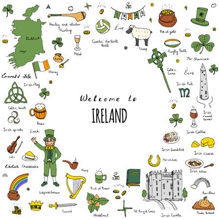 celtic: A mano doodle disegnati Irlanda impostato Illustrazione vettoriale Sketchy irlandesi tradizionali icone di cibo Repubblica d'Irlanda elementi bandiera Mappa Celtic Cross Knot Castello Leprechaun Shamrock Arpa pentola d'oro icone di viaggio Vettoriali