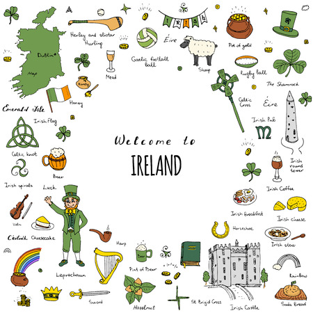 Hand drawn doodle Ireland set Vector illustration Sketchy Irish traditional food icons Republic of Ireland elements Flag Map Celtic Cross Knot Castle Leprechaun Shamrock Harp Pot of gold Travel icons Illustration