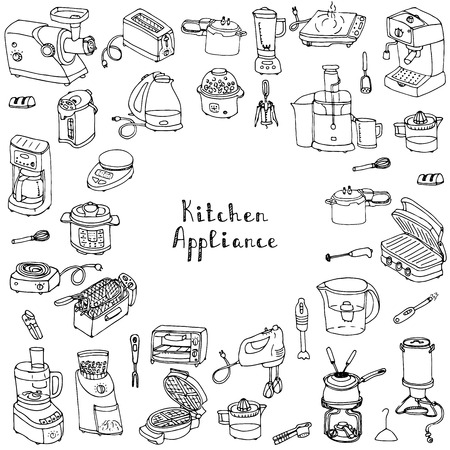 consumer electronics: Hand drawn doodle Kitchen appliance vector illustration  Cartoon icons set Various household equipment and facilities Small kitchen appliances Consumer electronics Kitchenware Freehand vector sketch Illustration