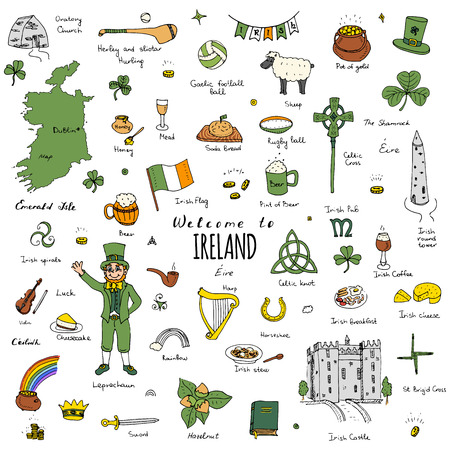 celtica: A mano doodle disegnati Irlanda impostato Illustrazione vettoriale Sketchy irlandesi tradizionali icone di cibo Repubblica d'Irlanda elementi bandiera Mappa Celtic Cross Knot Castello Leprechaum Shamrock Arpa pentola d'oro icone di viaggio Vettoriali